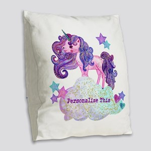 Cute Personalized Unicorn Burlap Throw Pillow