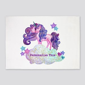 Cute Personalized Unicorn 5'x7'Area Rug