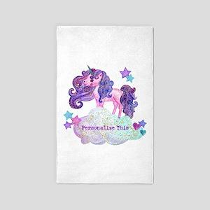 Cute Personalized Unicorn Area Rug