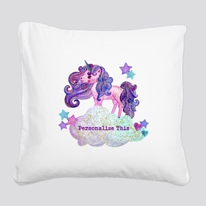 Cute Personalized Unicorn Square Canvas Pillow