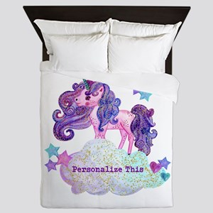 Cute Personalized Unicorn Queen Duvet