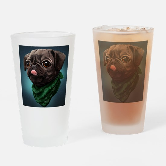Cute Funny puggle Drinking Glass