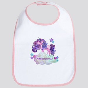 Cute Personalized Unicorn Baby Bib