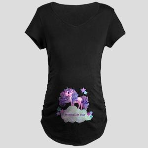 Cute Personalized Unicorn Maternity T-Shirt
