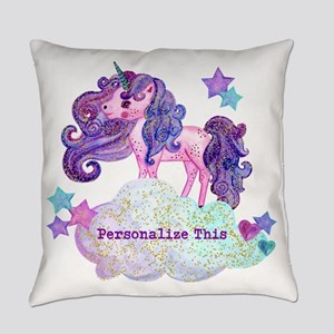 Cute Personalized Unicorn Everyday Pillow