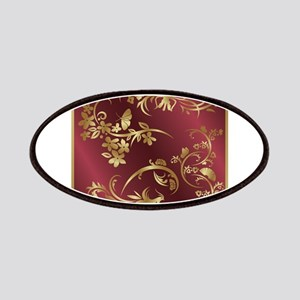 Floral birds design on maroon background Patch