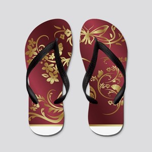 Floral birds design on maroon backgroun Flip Flops