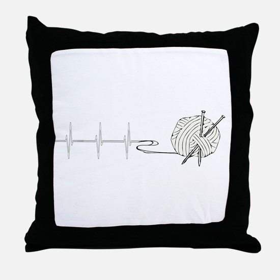 A Knitting Heart Throw Pillow