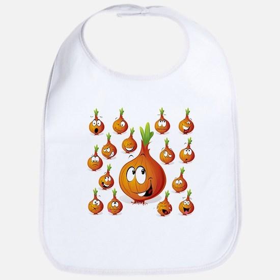Orange onion smiley Bib