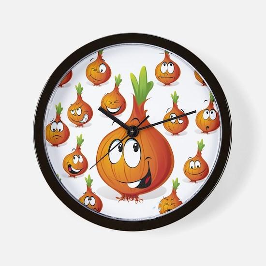 Orange onion smiley Wall Clock