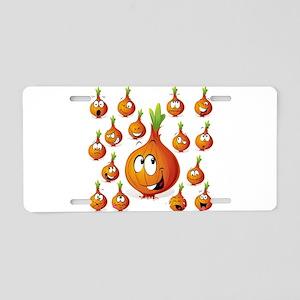 Orange onion smiley Aluminum License Plate
