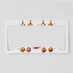 Orange onion smiley License Plate Holder