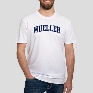 MUELLER design (blue) Fitted T-Shirt