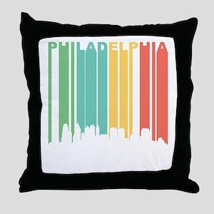Vintage Philadelphia Cityscape Throw Pillow