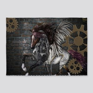 Steampunk, awesome steampunk horse with wings 5'x7