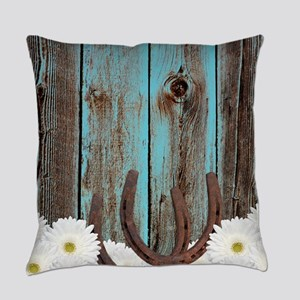Rustic Teal Barn Wood Horseshoes Everyday Pillow