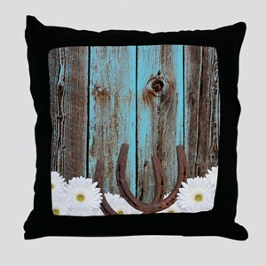 Rustic Teal Barn Wood Horseshoes Throw Pillow
