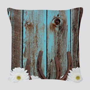 Rustic Teal Barn Wood Horseshoes Woven Throw Pillo