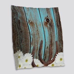 Rustic Teal Barn Wood Horseshoes Burlap Throw Pill