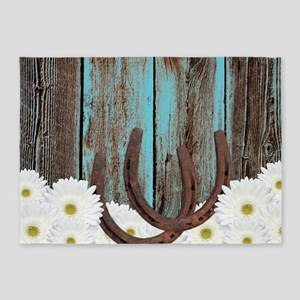 Rustic Teal Barn Wood Horseshoes 5'x7'Area Rug