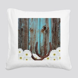 Rustic Teal Barn Wood Horseshoes Square Canvas Pil
