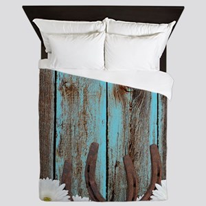 Rustic Teal Barn Wood Horseshoes Queen Duvet