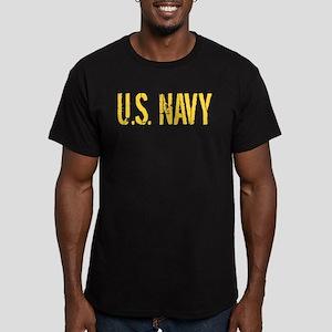 U.S. Navy: Gold Stenci Men's Fitted T-Shirt (dark)
