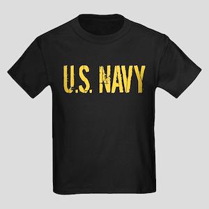 U.S. Navy: Gold Stencil Kids Dark T-Shirt
