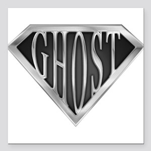 """spr_ghost_chrm Square Car Magnet 3"""" x 3"""""""