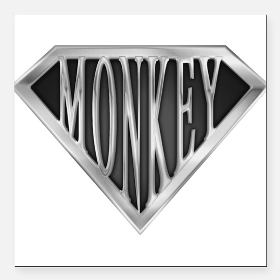 "spr_monkey_chrm.png Square Car Magnet 3"" x 3"""