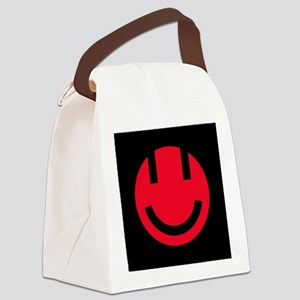 red smile face black square Canvas Lunch Bag
