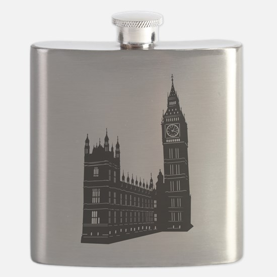 World famous Big ben building silhouette Flask