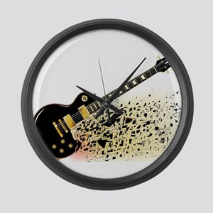 Shattering Blues Guitar Large Wall Clock
