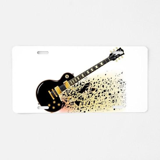 Shattering Blues Guitar Aluminum License Plate