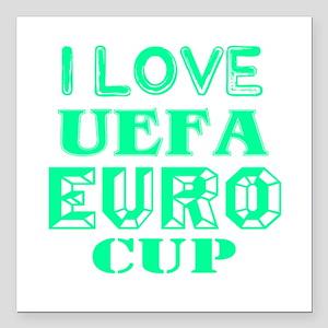 "I Love Uefa Euro Cup Square Car Magnet 3"" x 3"""