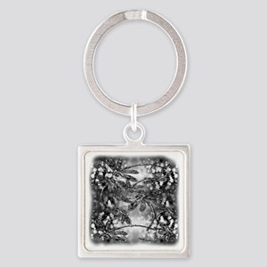 Dragonfly Bubbles Black n White Square Keychain