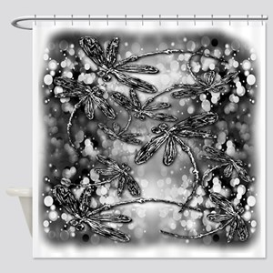 Dragonfly Bubbles Black n White Shower Curtain