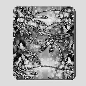 Dragonfly Bubbles Black n White Mousepad