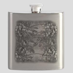 Dragonfly Bubbles Black n White Flask