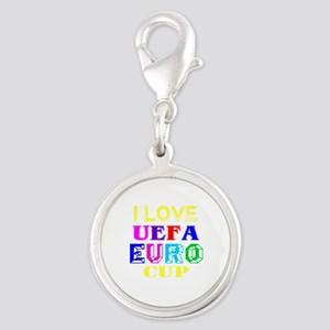 I Love Uefa Euro Cup Silver Round Charm