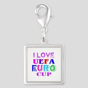 I Love Uefa Euro Cup Silver Square Charm