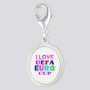 I Love Uefa Euro Cup Silver Oval Charm
