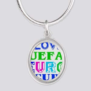 I Love Uefa Euro Cup Silver Oval Necklace