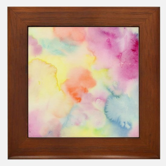 Funny Abstract watercolor Framed Tile