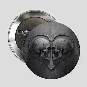 "Gothic Skull Heart 2.25"" Button"