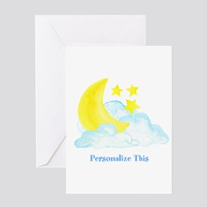 Personalized Moon and Stars Greeting Cards