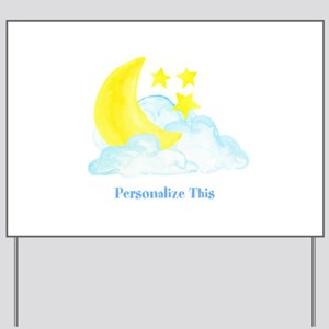Personalized Moon and Stars Yard Sign