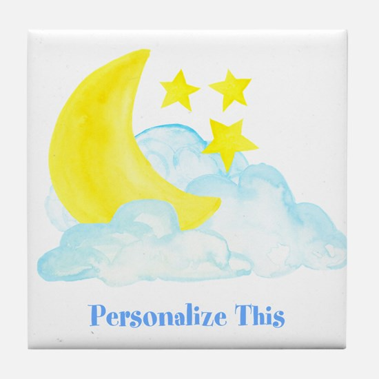 Personalized Moon and Stars Tile Coaster