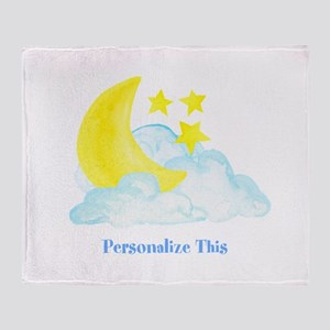 Personalized Moon and Stars Throw Blanket