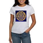 s002.sri yantra gold on blue Women's T-Shirt
